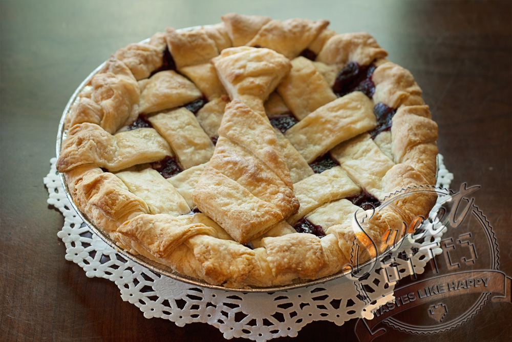"""A 9"""" Triple Berry Pie with a Pie Crust Cut out shaped like a man's tie"""