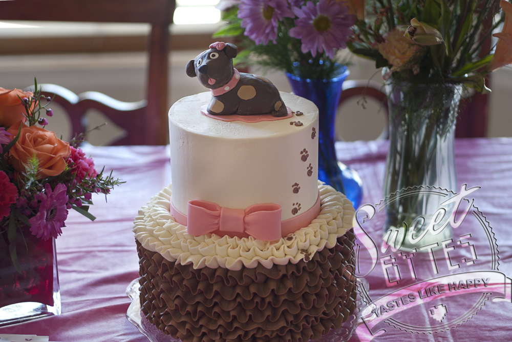 A 2 tiered custom cake with a modeling chocolate brown puppy on top