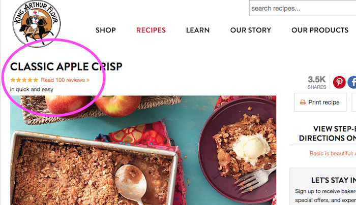 Screen Shot of Apple Crisp Recipe with Reviews circled in pink