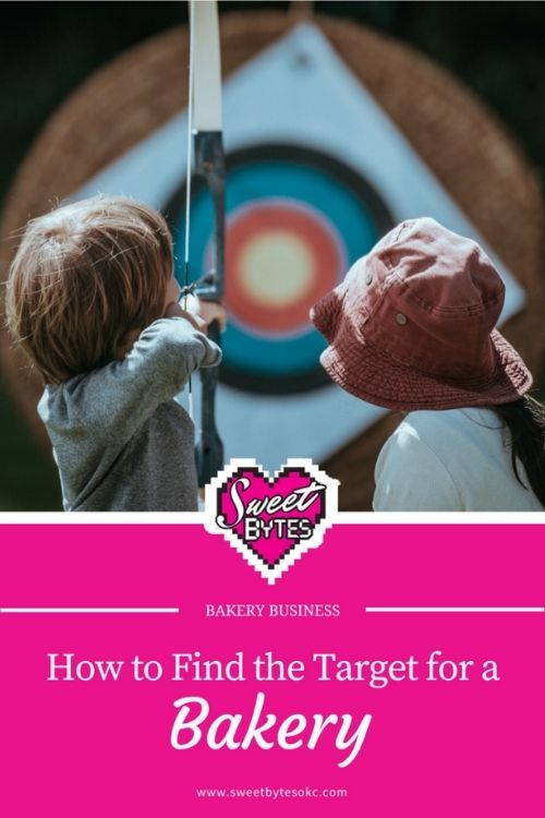 child with drawn bow aimed at a yellow target demonstrating hitting a bakery target market