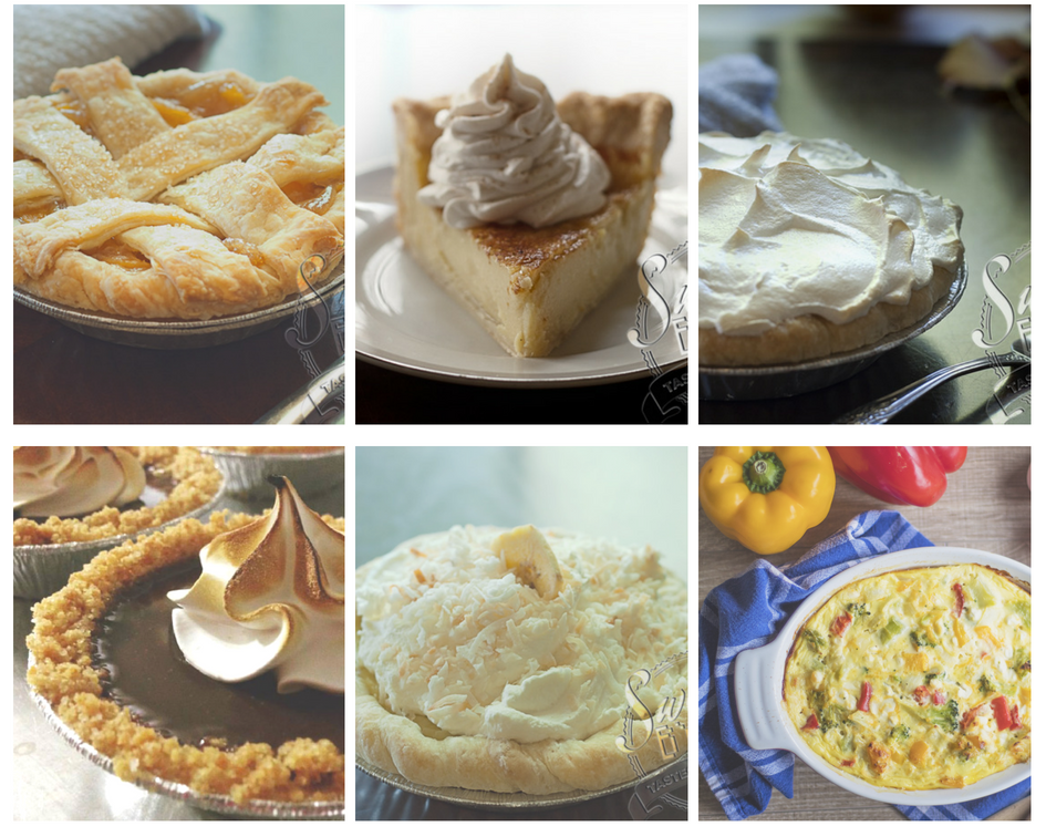 photo collage of 6 different types of pie: fruit pie, custard pie, meringue pie, novelty pie, cream pie, and quiche