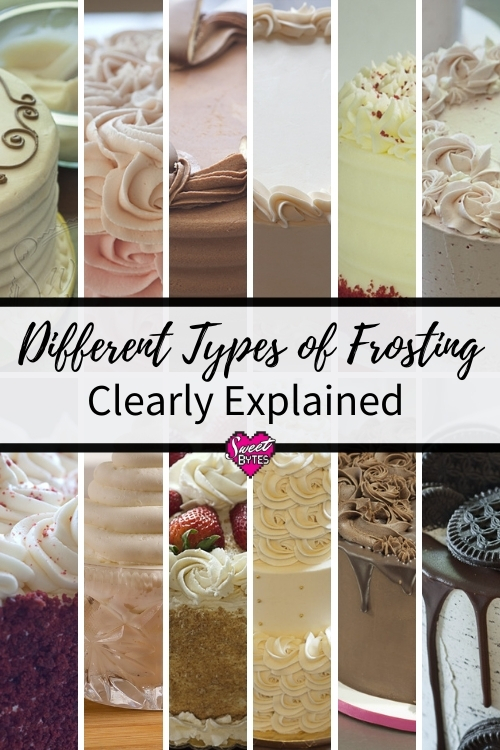 a graphic for pinterest showing 12 partial images of different types of frosting