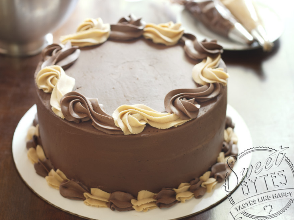 Chocolate frosted cake with chocolate and peanut butter frosting swirls for these types of frosting