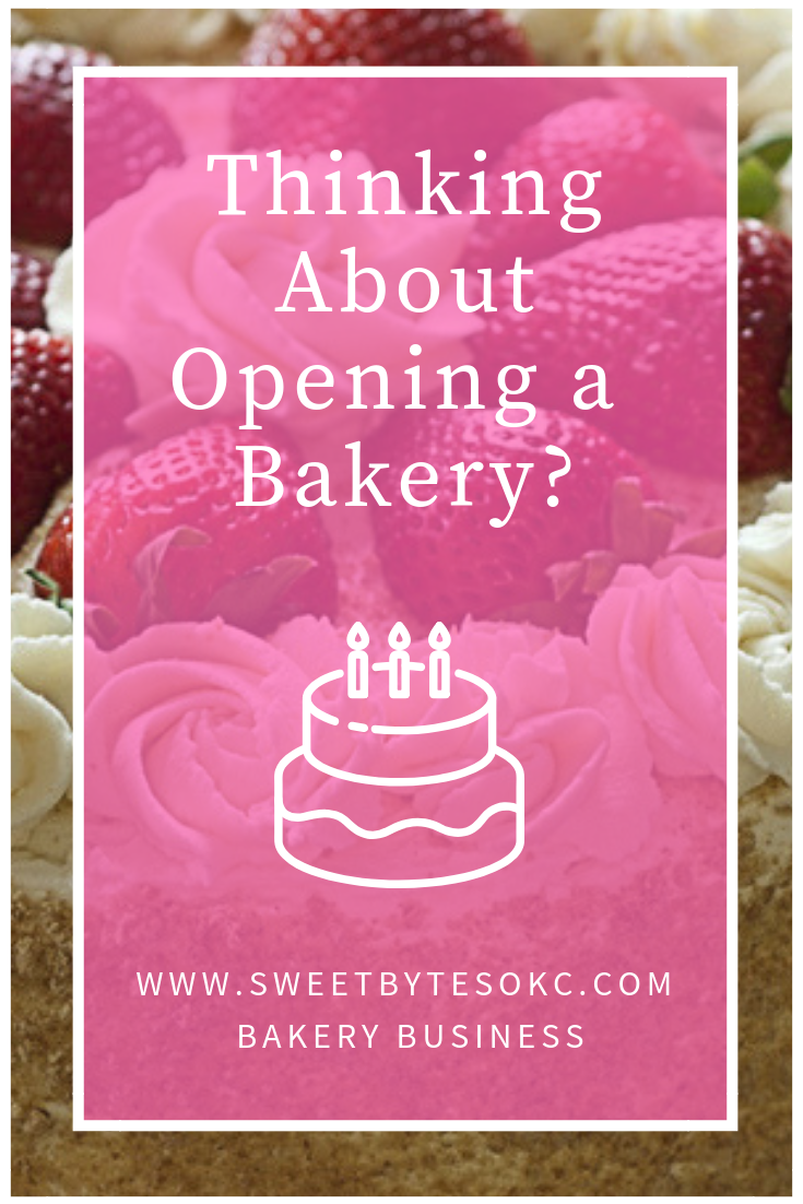 "A graphic with ""thinking about opening a bakery"" written on a pink rectangle."