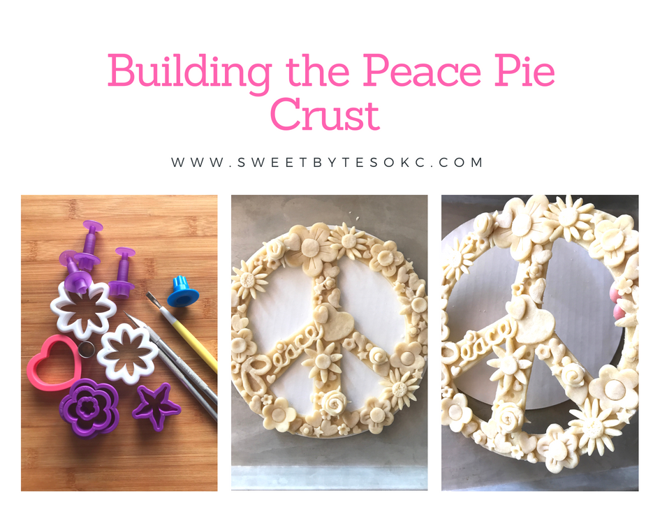 3 images on a graphic 1) various cookie and fondant cutters 2) a floral peace sign made of pie crust 3) a close of of the pie crust peace sign