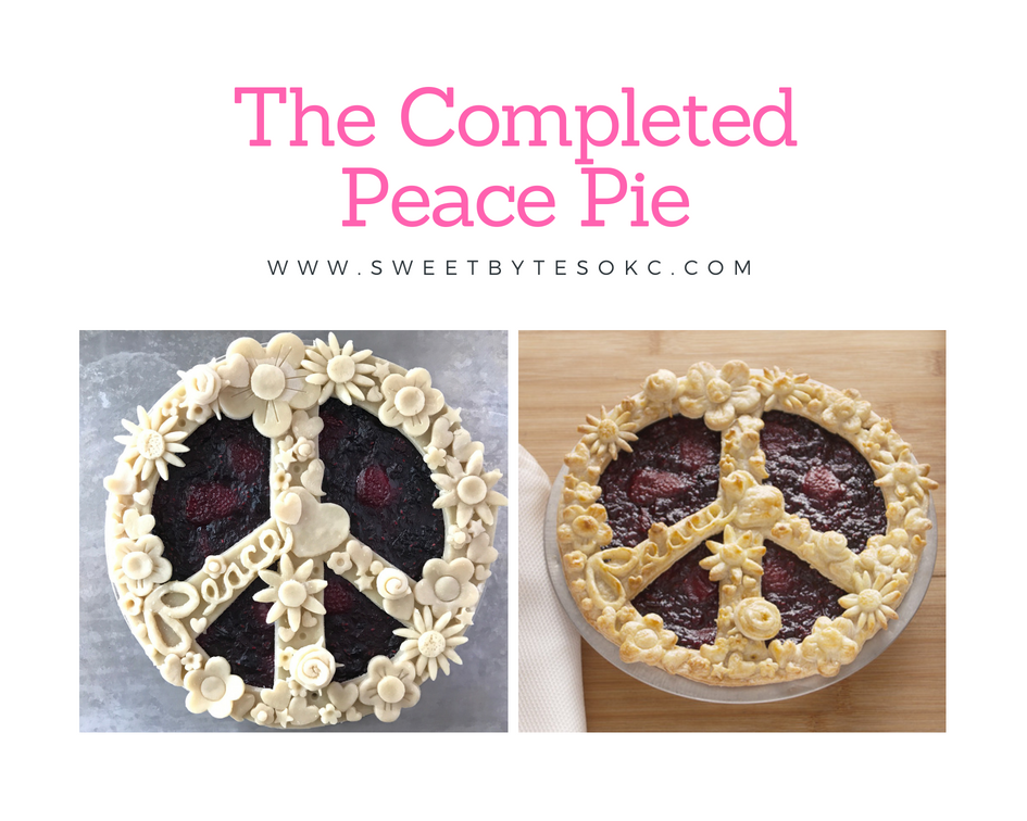 Side by side shots of the raw peace sign pie and the baked peace day pie