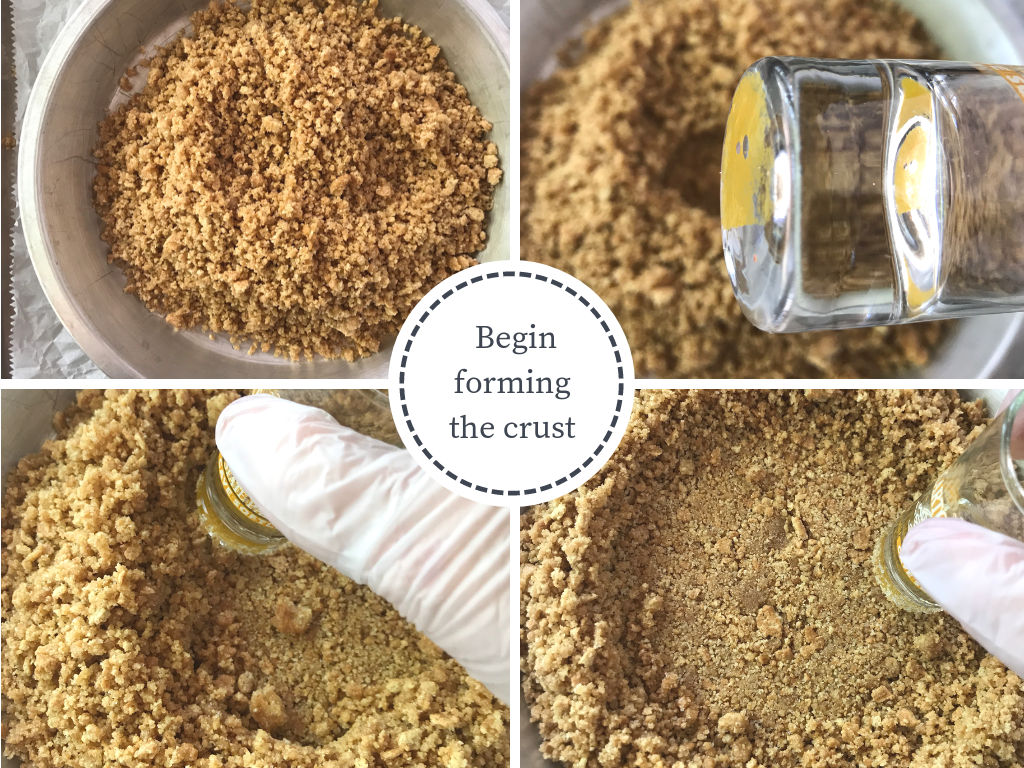 4 images showing how to begin forming a graham cracker crust for pie