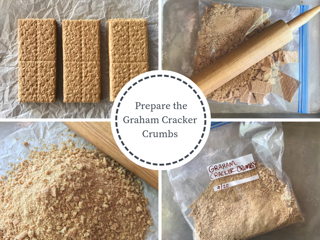 4 images demonstrating preparing graham cracker crust 1) graham crackers 2) crushed graham crackers 3) pile of graham cracker crumbs 4) Zip bag full of crumbs