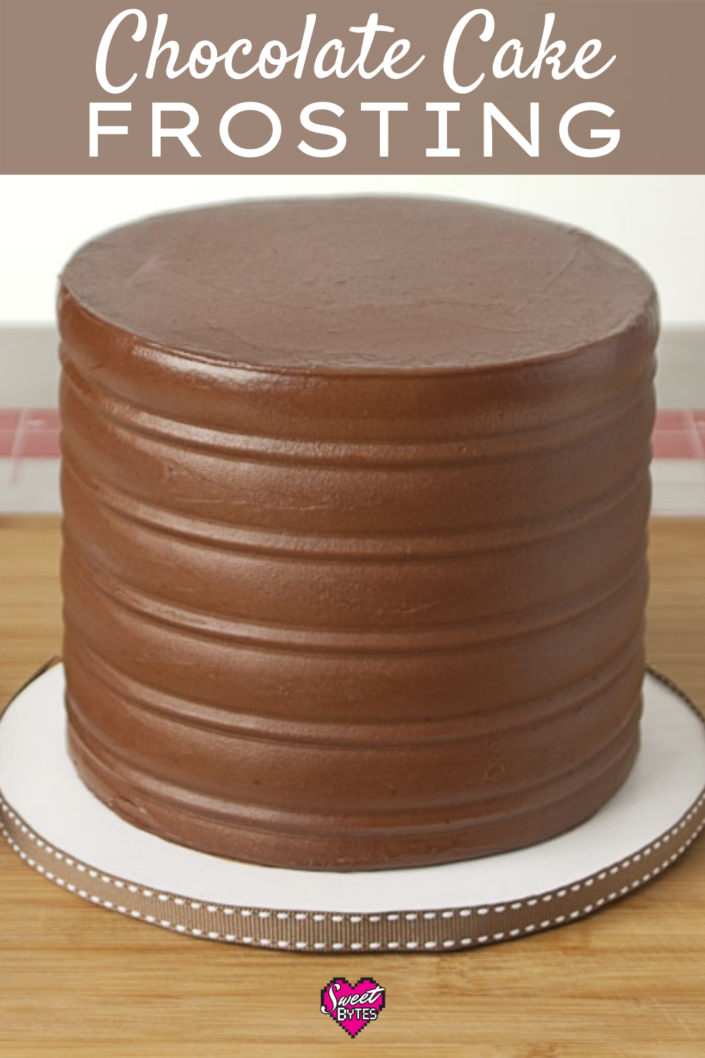 Chocolate cake frosting on a six inch three layer chocolate cake