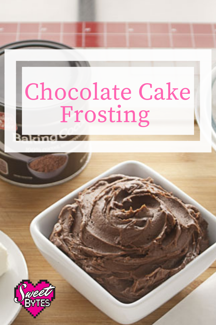 Chocolate Cake Frosting in a white bowl on a graphic for pinterest