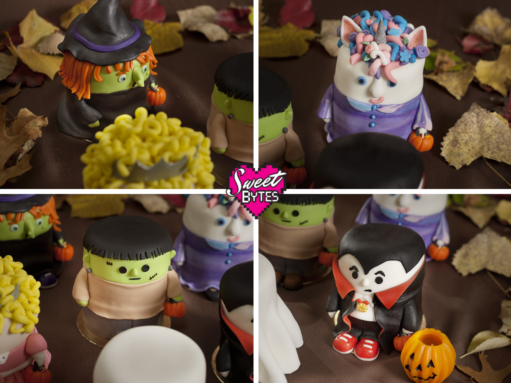 4 picture collage showing finished Halloween cakes: Witch, Unicorn, Frankenstein, and Dracula