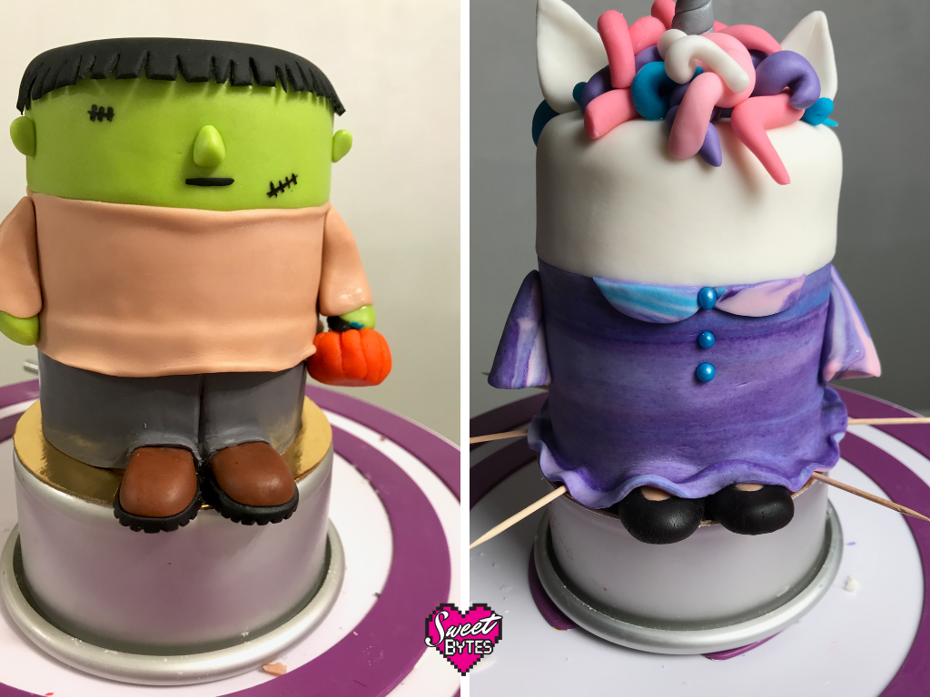A side by side shot of a Frankenstein Halloween cake and a Unicorn Halloween cake in progress