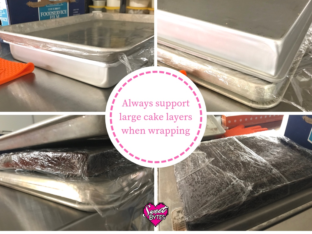 4 images showing how to store a large baked cake layer