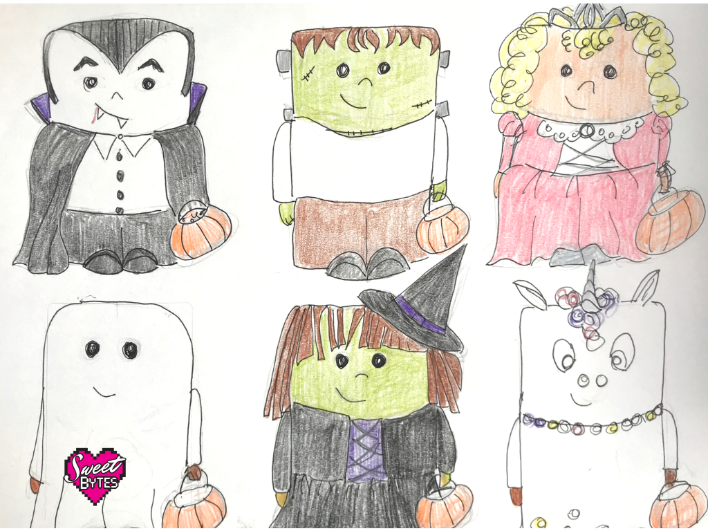 Sketch of my mini halloween cakes. Dracula, Frankenstein, Princess, Ghost, Witch, and Unicorn