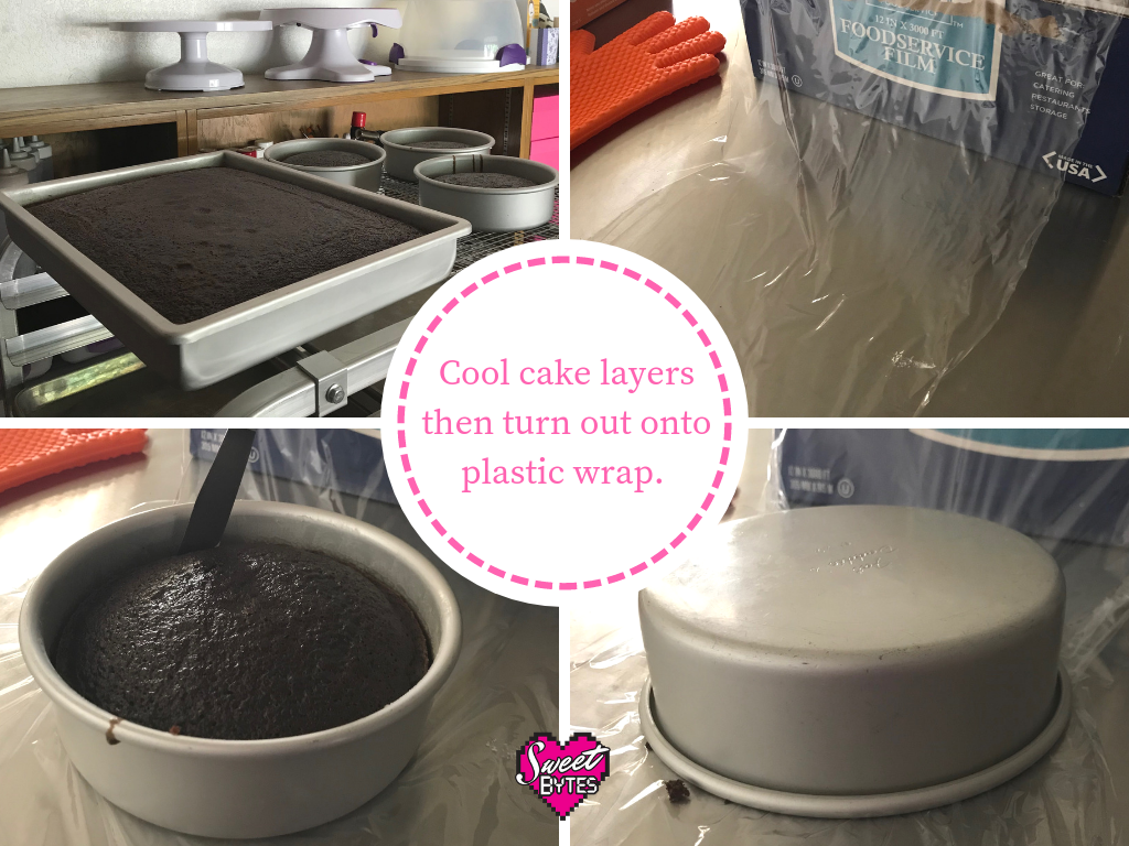 4 images showing how to store baked cake layers. 1. cooling cakes 2. sheet of plastic wrap 3. butter knife loosening cake layer 4. upside down cake pan on top of plastic wrap