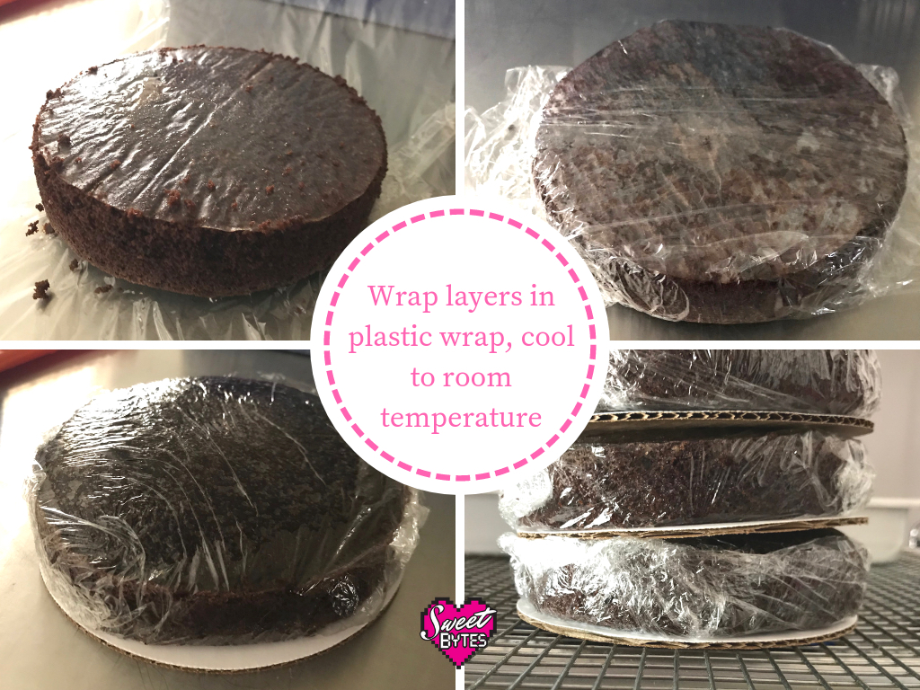 Four images of cake layers wrapped and stored in plastic