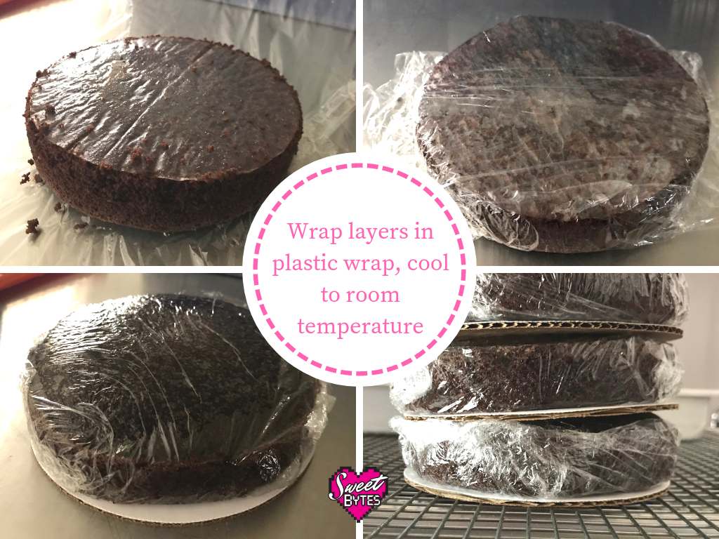 4 images showing how to store baked cake layers wrapped in plastic.