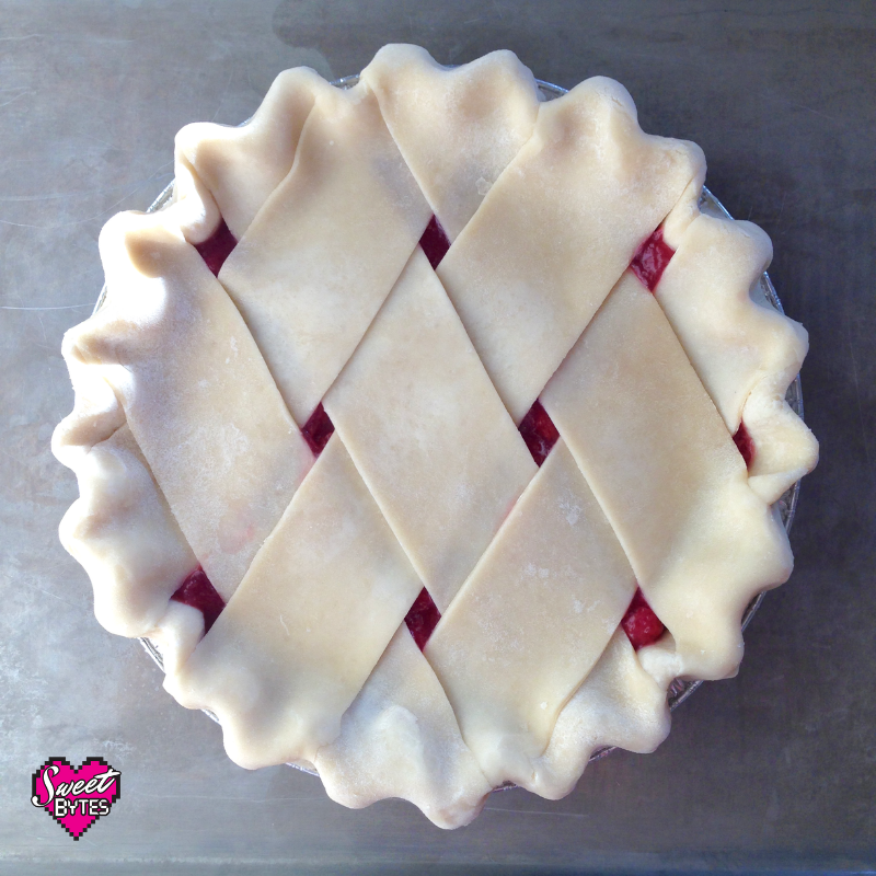 a overhead shot of a pie with a fat lattice crust design made from the best pie crust recipe