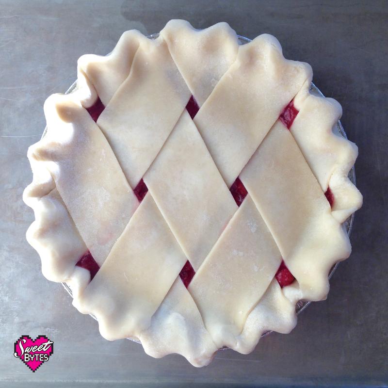 a overhead shot of a pie with a fat lattice crust design made from the best pie crust recipe