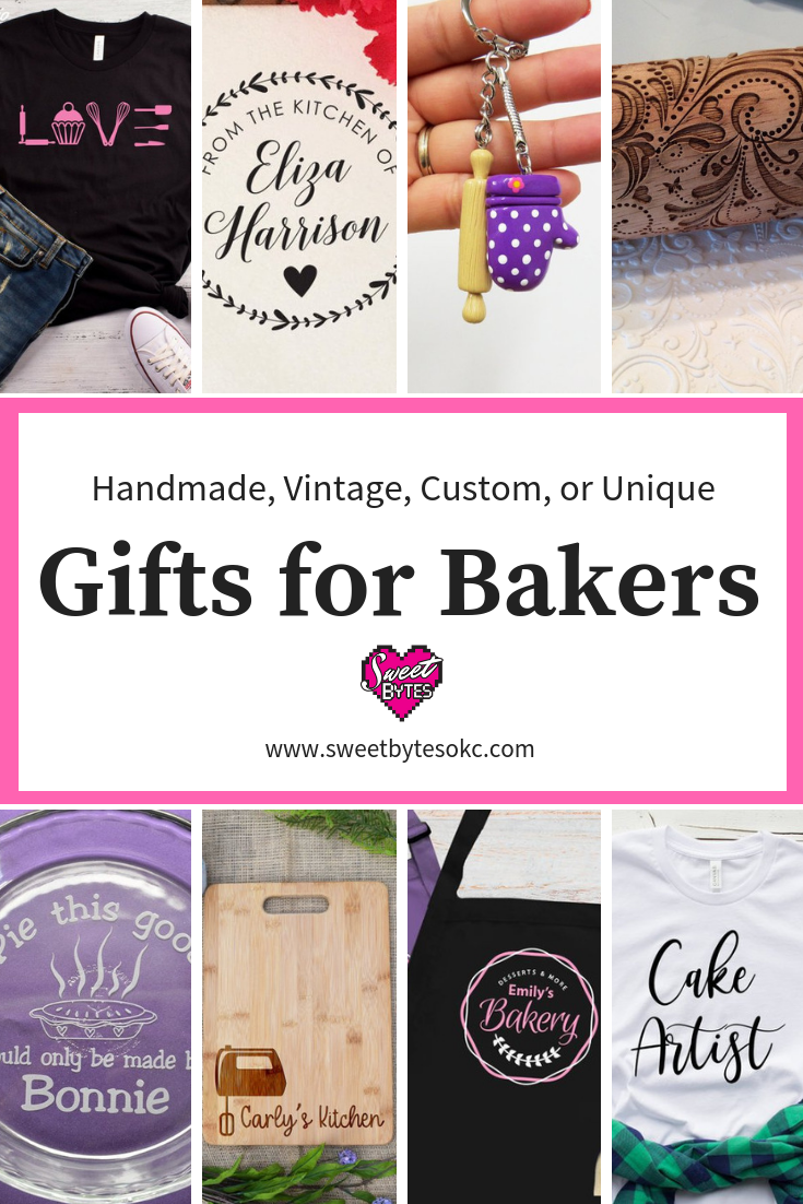 A graphic with 8 pictures of gifts for bakers from Etsy