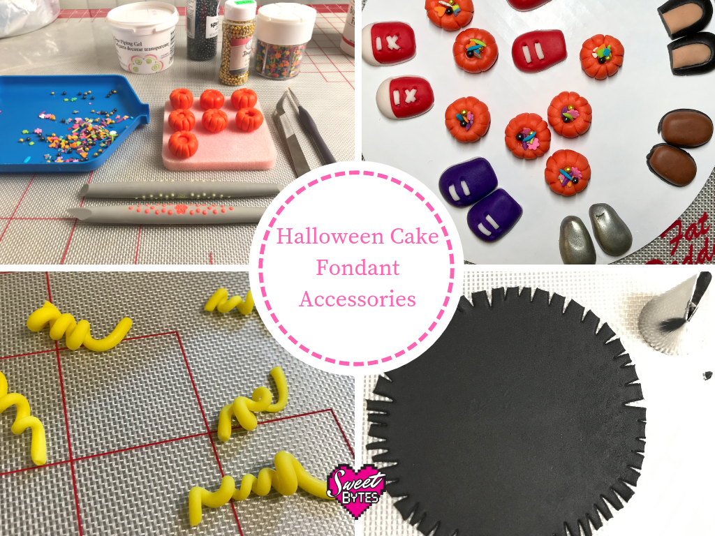 A graphic with 4 images showing the Halloween cake fondant accessories