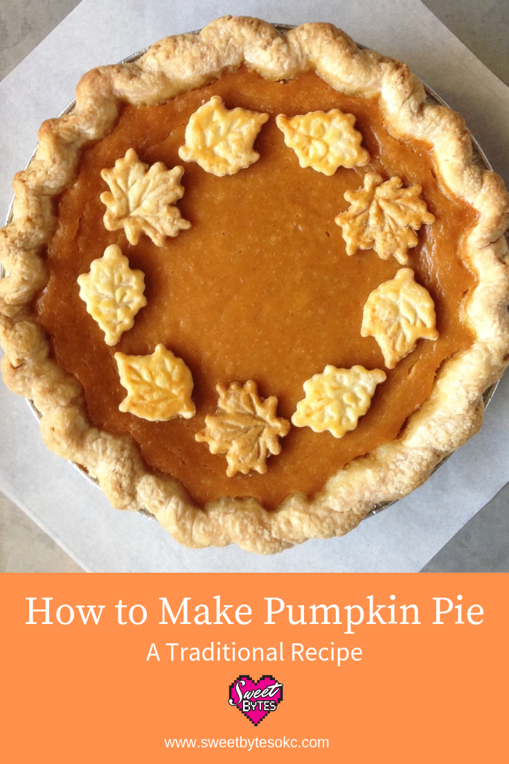 A pinterest graphic with a pumpkin pie decorated with pie crust leaves