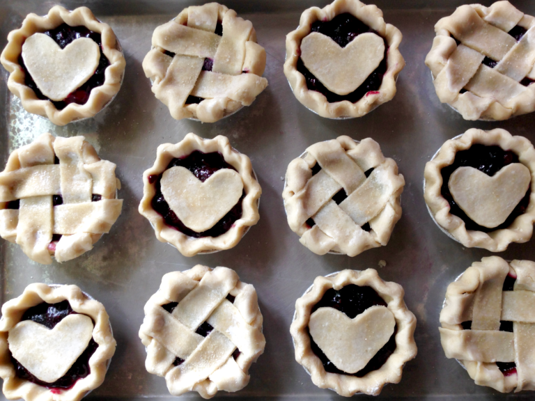 12 mini pies alternating hearts and lattice using the best pie crust recipe