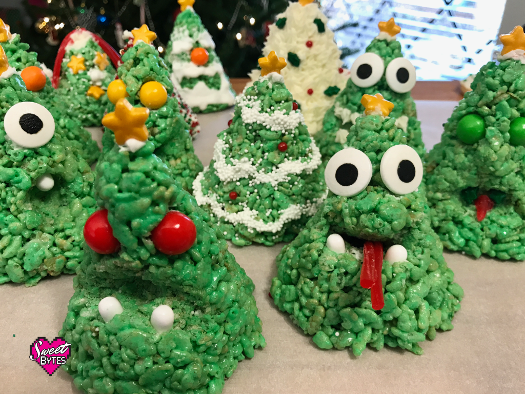 Crazy Rice Krispie Christmas Trees
