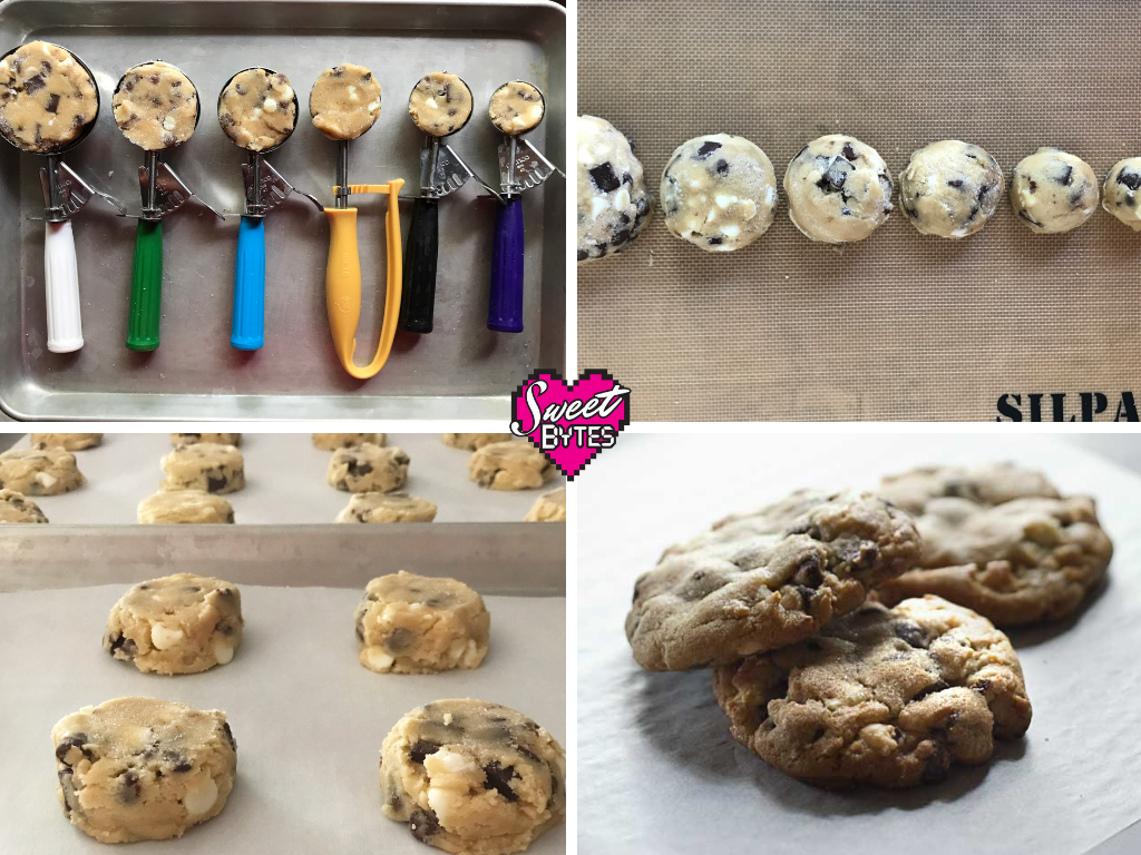a graphic with 4 photos for baking cookies, cookie scoops, scooped cookies, cookies on baking sheet, baked cookies