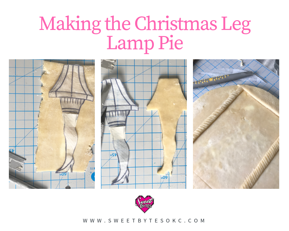 a graphic with three images showing cutting out the pie crust and making the leg lamp pie