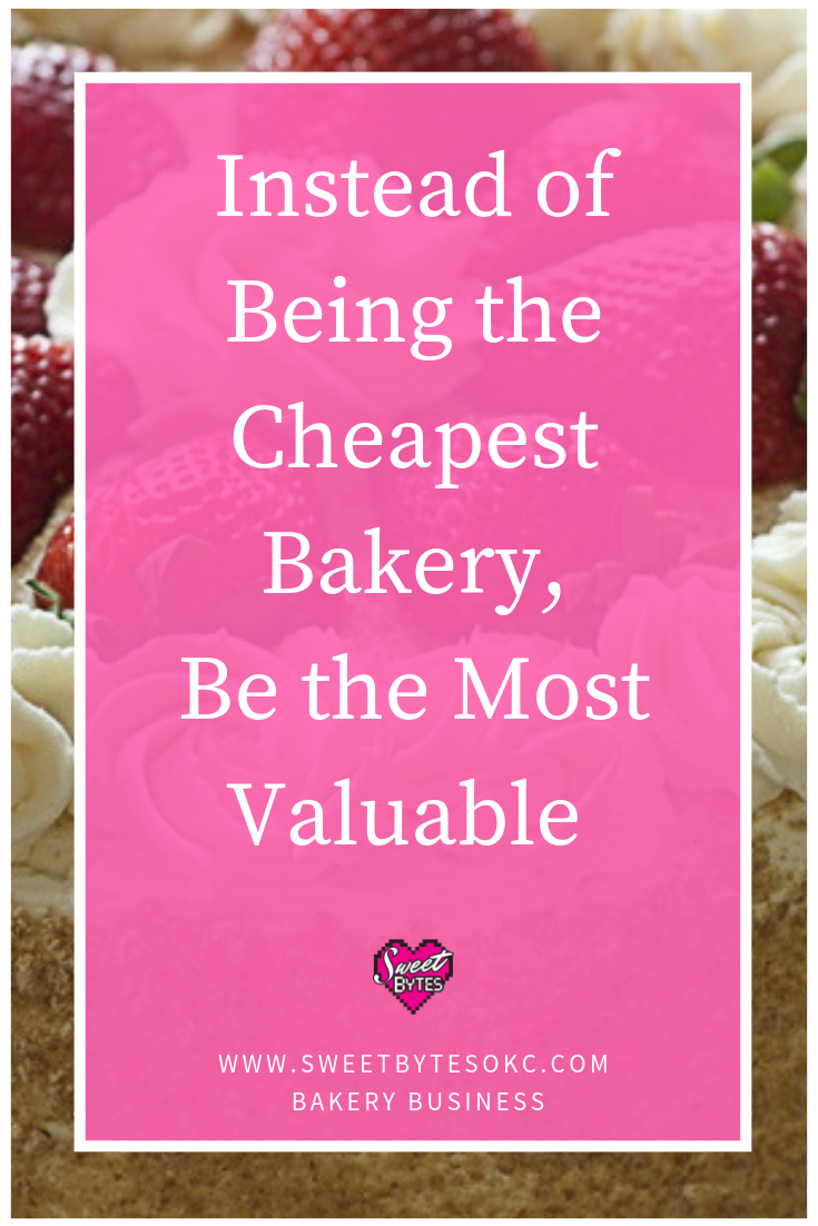 A graphic made for pinterest with the words Instead of being the cheapest bakery, be the most valuable