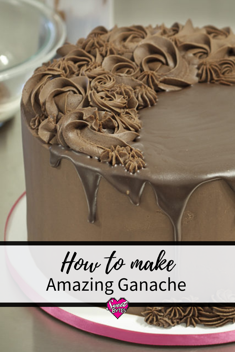 A pinterest image of ganache on a chocolate cake