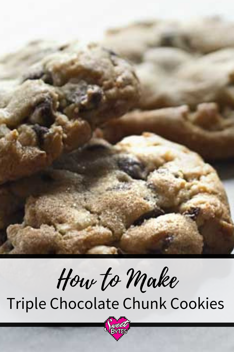 Close up of chocolate chip cookies on an image for Pinterest