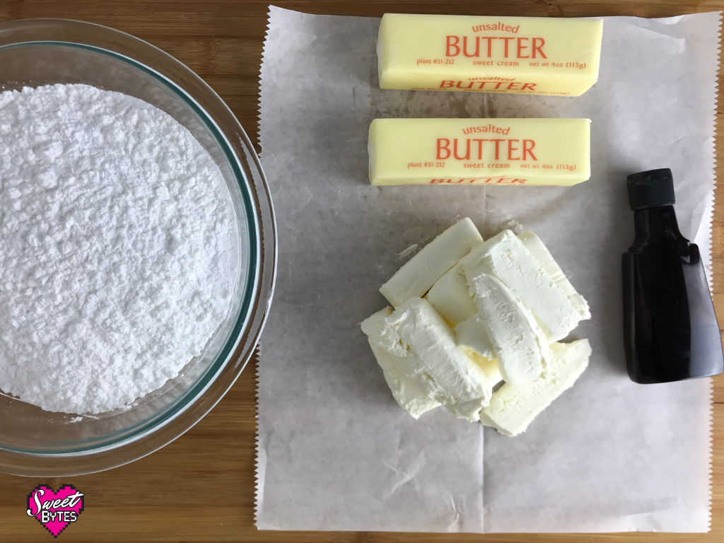Ingredients for cream cheese frosting: powdered sugar, butter, cream cheese, and vanilla