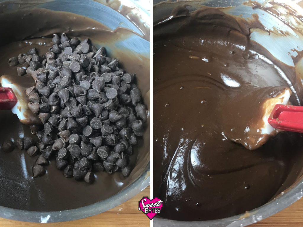 Side by side of real chocolate chips added to the chocolate Thin Mint pie filling
