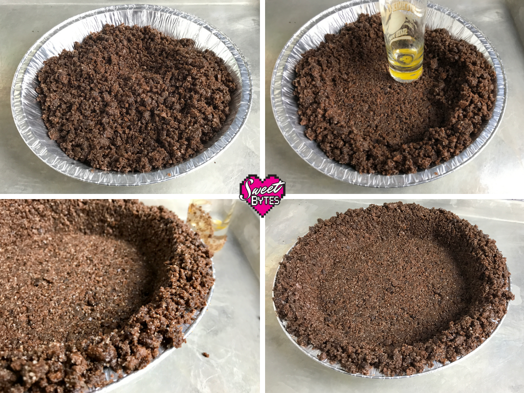 4 step process of making the thin mint cookie crumbs into a thin mint pie crust
