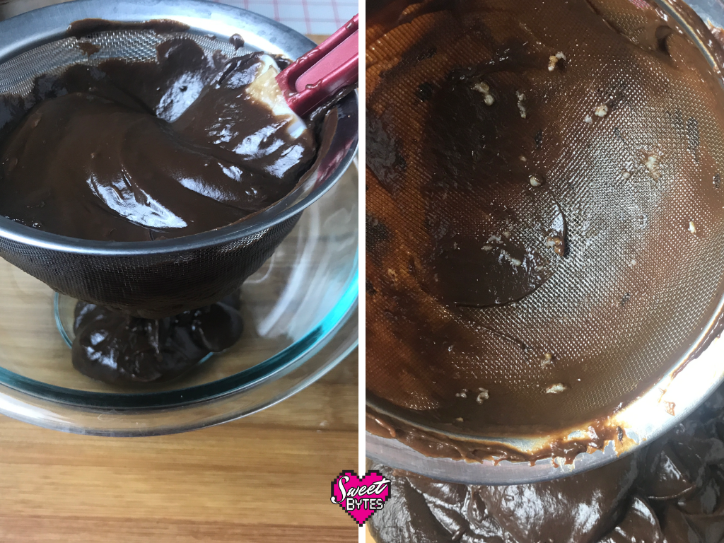 Side by side photos of Thin mint pie filling being pushed through a sieve then close up of the sieve afterwards