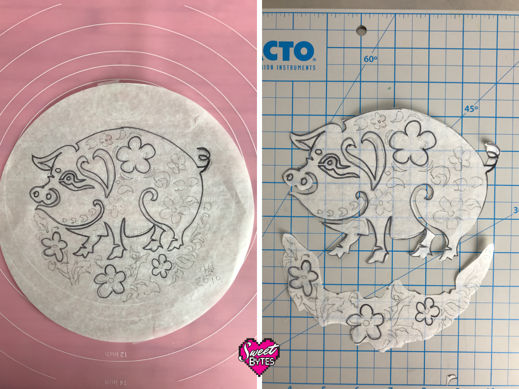 2 images, on the left is the pig pie sketch on a parchment circle. On the right: the sketch cut into pieces as it was used in making the pie