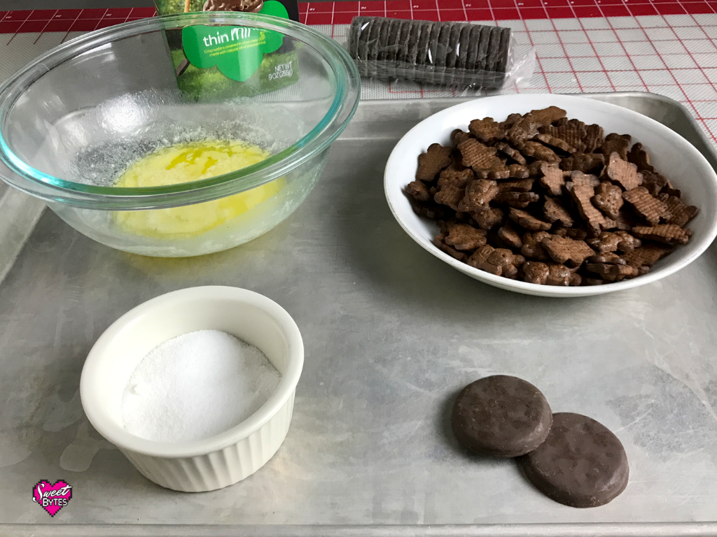 Ingredients for Thin Mint Pie crust arranged on a baking sheet