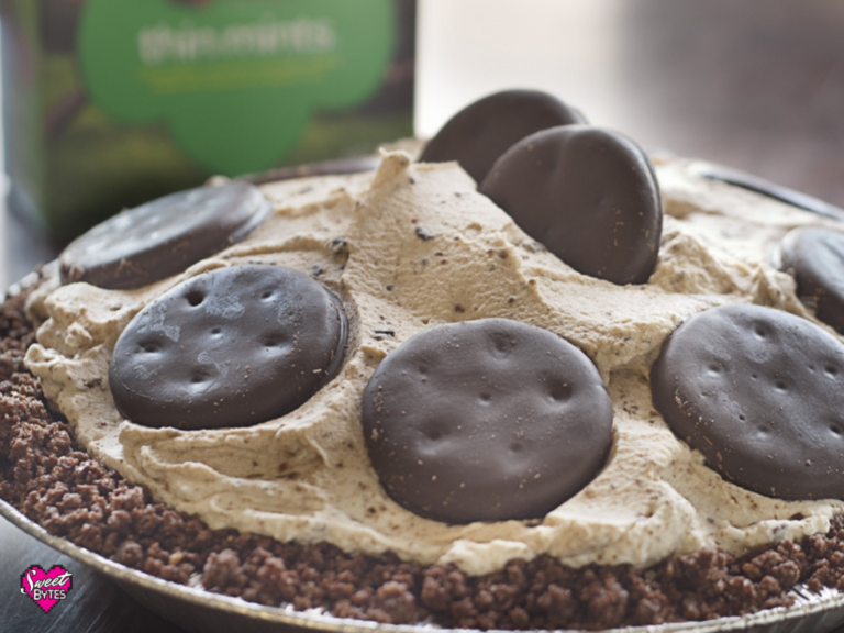 Close up of a Thin Mint Pie made with Thin Mints Girl Scouts Cookies on top