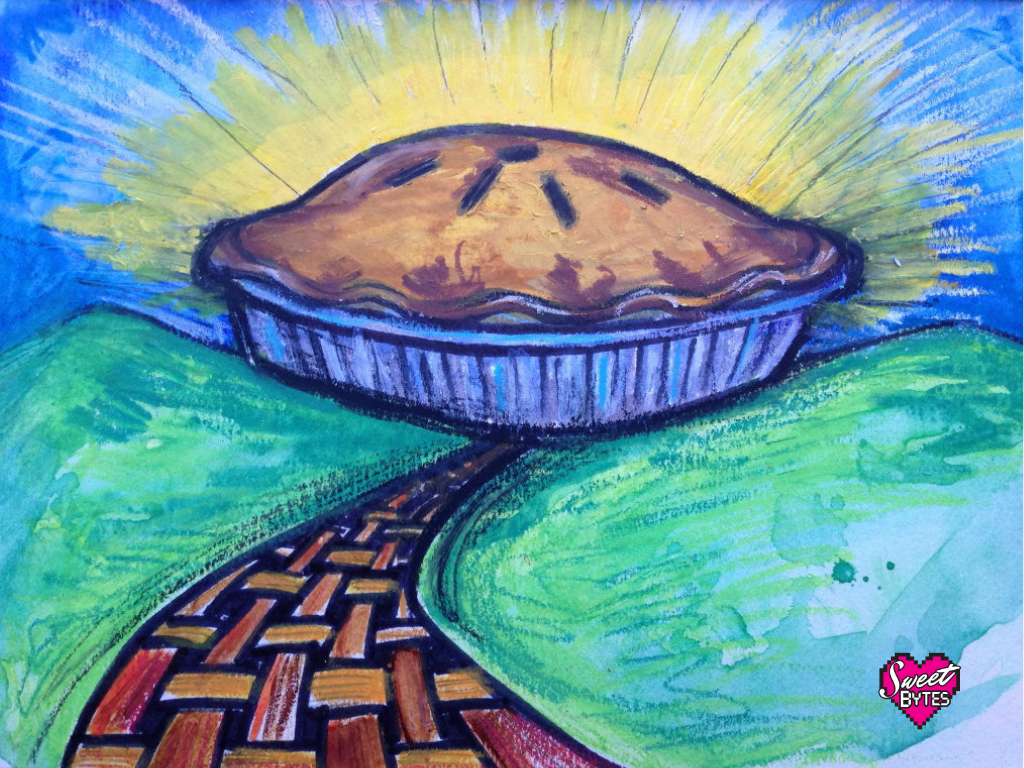 an illustration of a pie taking the place of the sun on the horizon at the end of a pie path