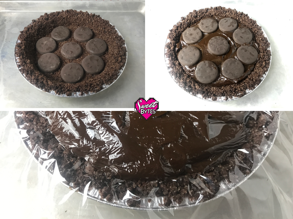 3 images of Thin Mint Pie as its assembled with whole Thin Mints Girl Scout cookies layered inside