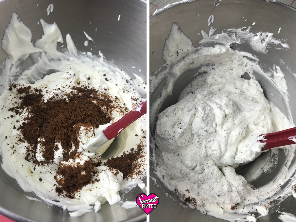 Side by side photos of whipped cream with Thin Mints crumbs being folded in to make Thin Mint Pie