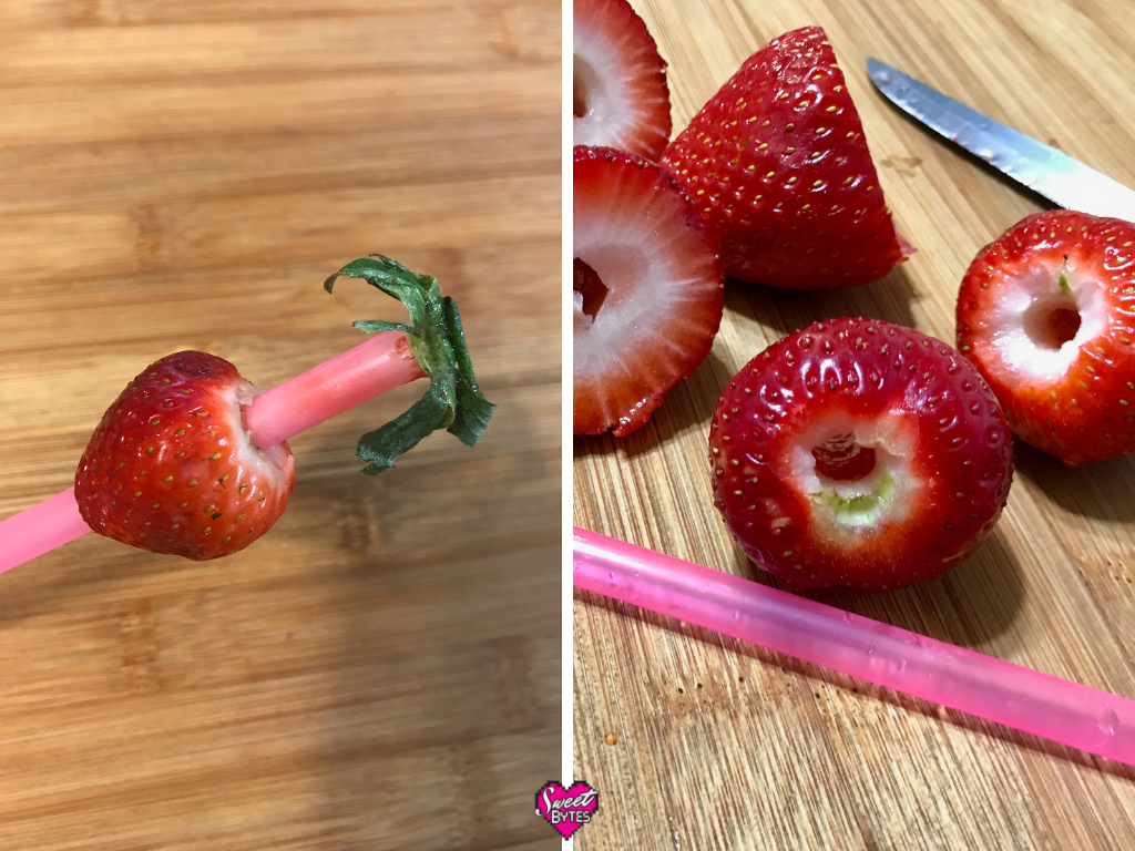left side is a strawberry hulled by a drinking straw, right side is a group of hulled strawberries