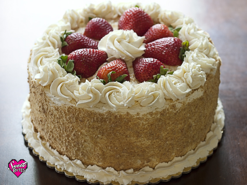 A strawberry and cream cake