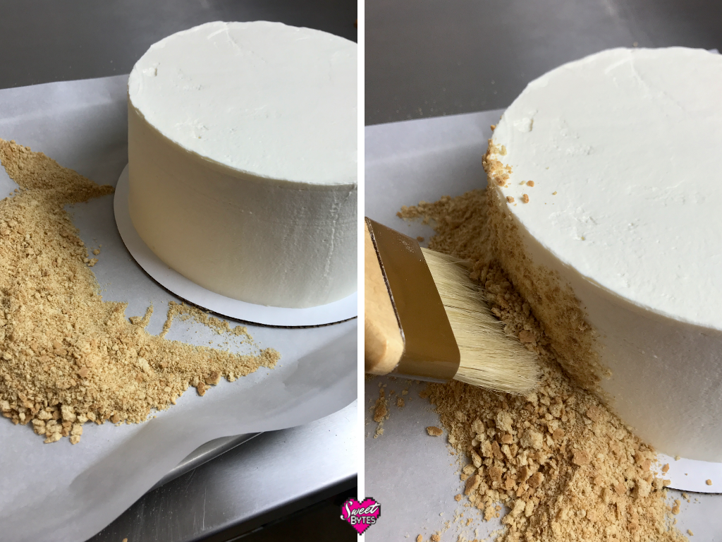 Two side by side images of how to add graham cracker crumbs to the side of a strawberry and cream cake