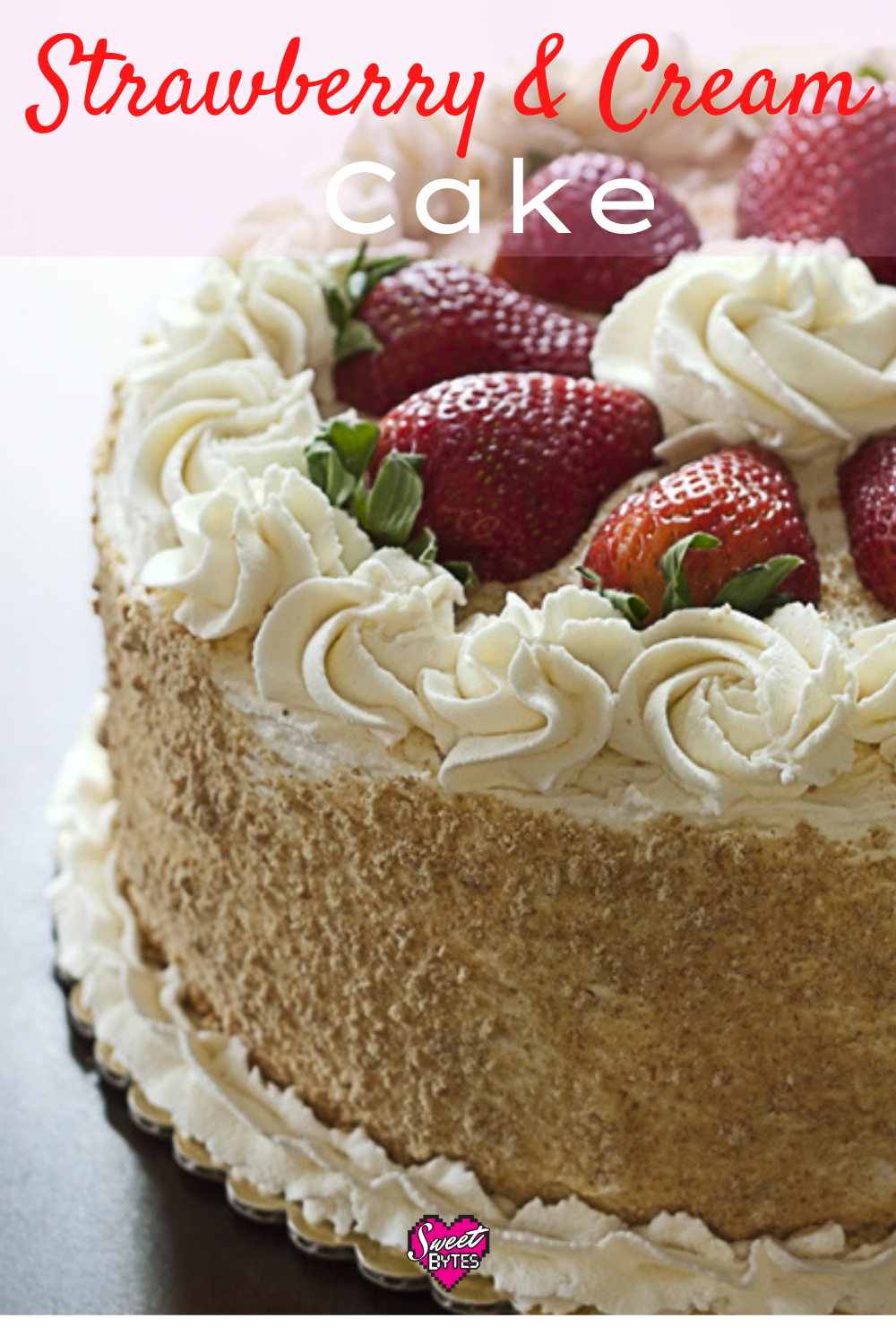 Strawberry and Cream Cake with Mascarpone Whipped cream and strawberries on top