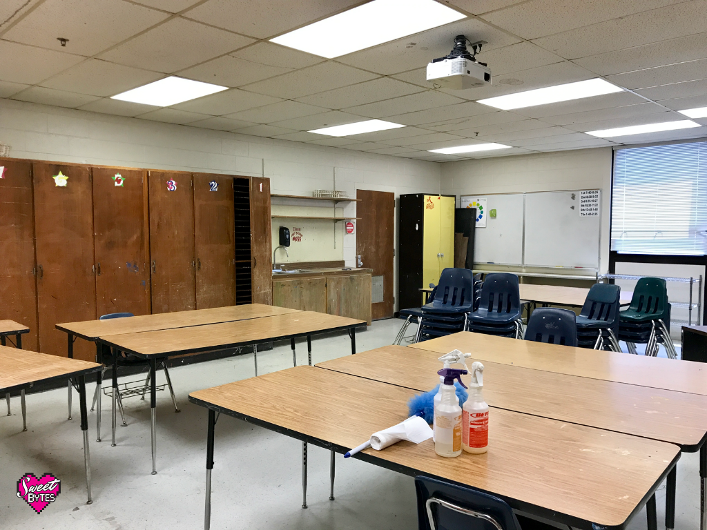 A view of a clean art classroom