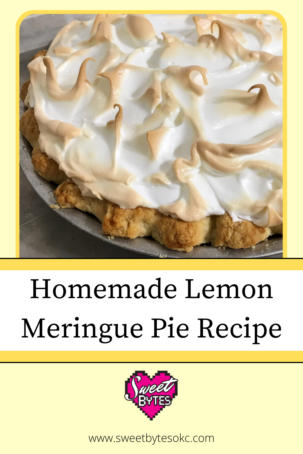 Homemade lemon meringue pie graphic for pinterest