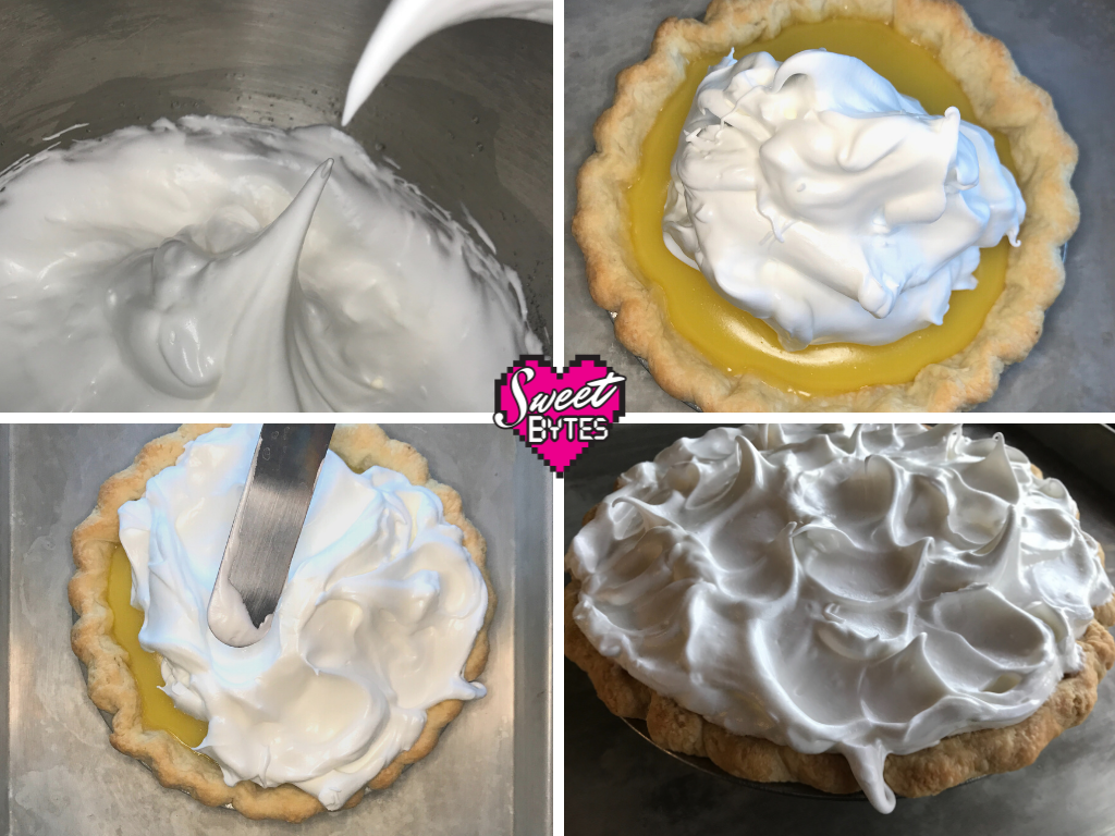 Four pictures that demonstrate how to put meringue on lemon meringue pie